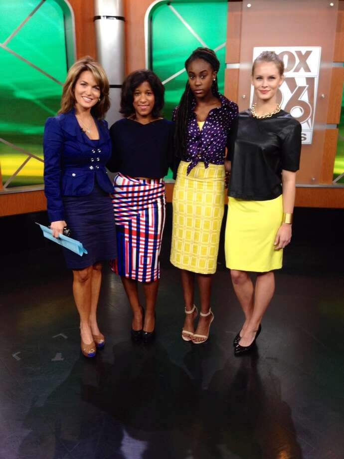 Fox 26 anchor Melissa Wilson, with Joy Sewing (wearing Chloe Dao) and Neal Hamil Agency models Bri (also wearing Chloe Dao) and Alison (wearing Macy's).