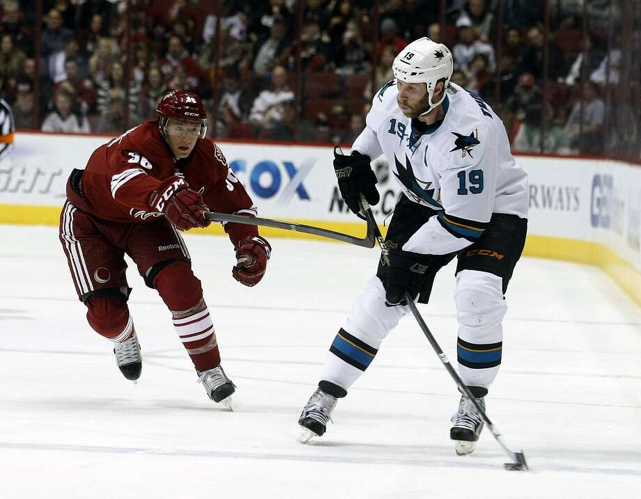 Sharks center Joe Thornton leads the NHL with 45 assists but was left off Canada's Olympic hockey roster. Photo: Rick Scuteri, Associated Press