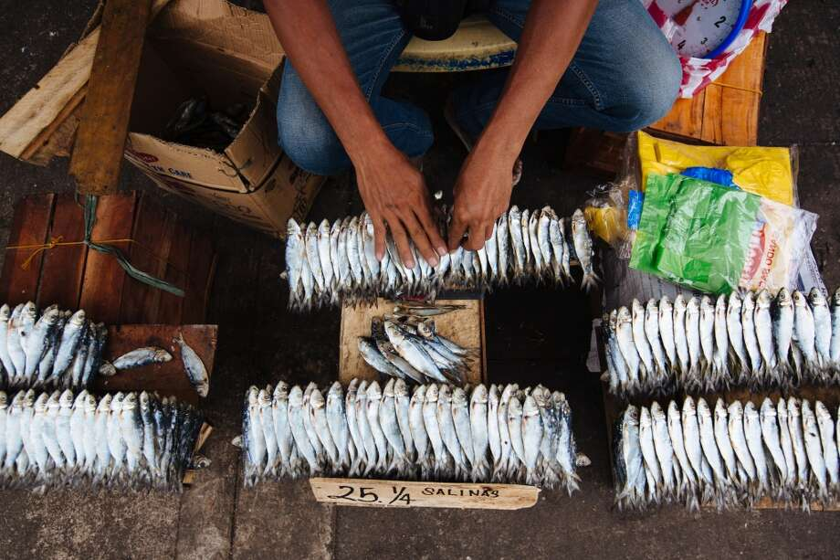 The Philippines: A vendor arranges fish for sale at a stall in the market district of Divisoria in Manila. Photo: Julian Abram Wainwright, Bloomberg