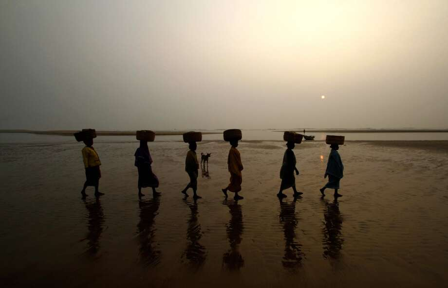 India: Fisherwomen hold baskets atop their head as they arrive to collect fish on the Bay of Bengal coast near Rushikulya River in Ganjam district, 140 kilometers (87 miles) away from the eastern Indian city Bhubaneswar, India. Photo: Biswaranjan Rout, Associated Press