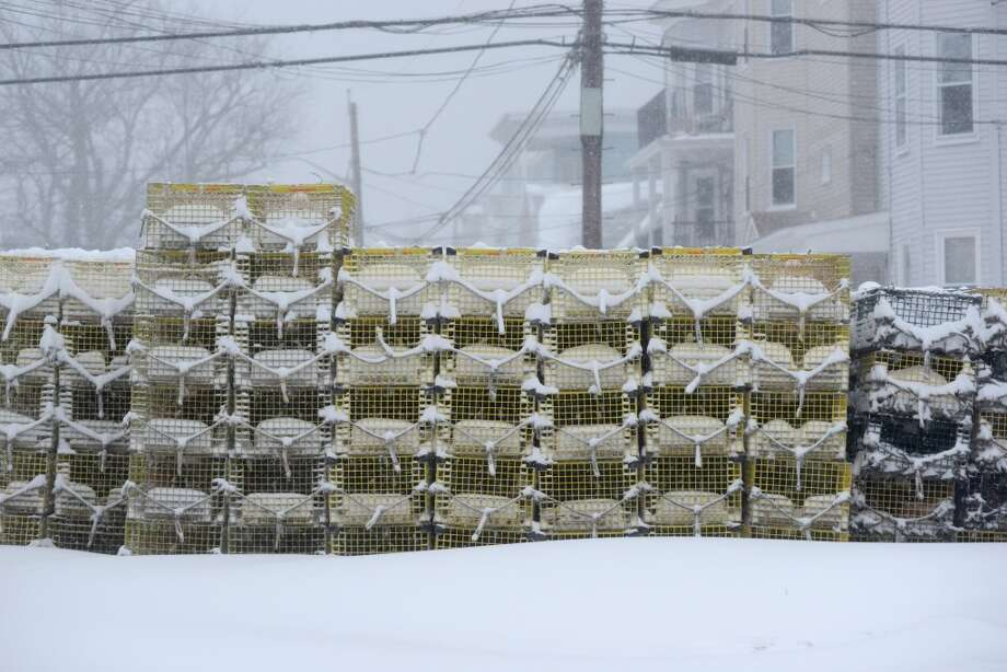 Massachusetts: Lobster traps lie in the snow after an overnight storm in Winthrop, Massachusetts. Photo: Darren McCollester, Getty Images