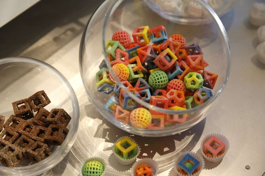 Nevada: Candies made by the 3D Systems Chef Jet printer sit on display during the 2014 Consumer Electronics Show (CES) in Las Vegas. The CES trade show, which runs until Jan. 10, is the world's largest annual innovation event, offering an array of entrepreneur-focused exhibits, events, and conference sessions for technology entrepreneurs. Photo: Patrick T. Fallon, Bloomberg