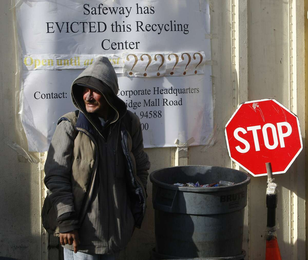 Dave (declined full name, but gave permission to use) has been recycling since last year at the recycling center next to the Market Street Safeway in San Francisco, Calif., on Friday, January 10, 2014. A law suit was filed and protests have recently been held to keep the long time recycling center open.