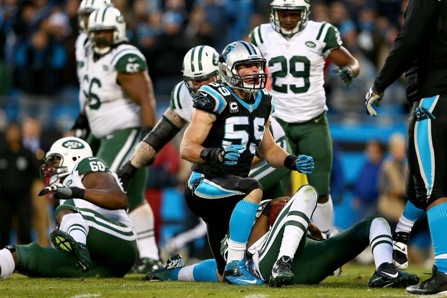 Carolina's Luke Kuechly, a second-year linebacker, was the NFL's Defensive Rookie of the Year last season and a first-team All-Pro selection this season. Photo: Streeter Lecka, Getty Images