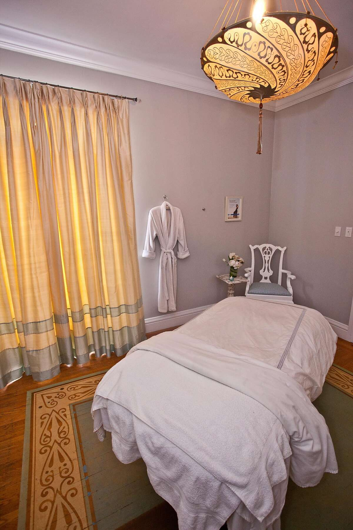 Jay Jeffers has redone the interiors of Spa Radiance in Cow Hollow. Pictured is a treatment room.