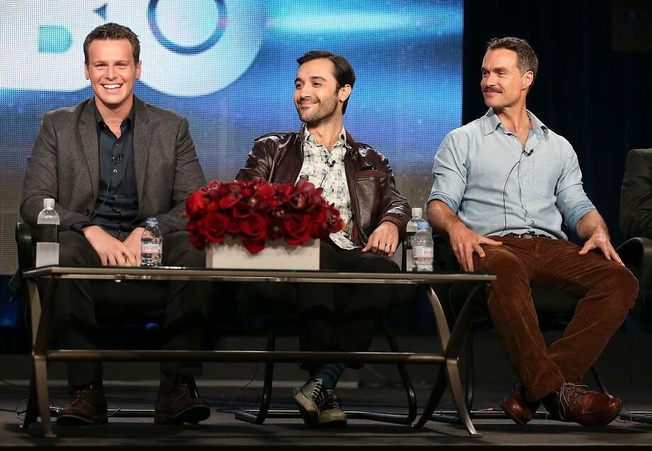 (L-R) Actors Jonathan Groff, Frankie J. Alvarez and Murray Bartlett speak onstage during the 'Looking' panel discussion at the HBO portion of the 2014  Winter Television Critics Association tour at the Langham Hotel on January 9, 2014 in Pasadena, California.  (Photo by Frederick M. Brown/Getty Images) Photo: Frederick M. Brown, Getty Images
