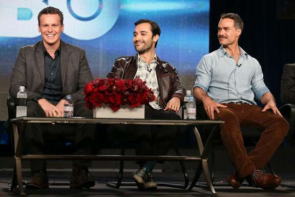 PASADENA, CA - JANUARY 09:  (L-R) Actors Jonathan Groff, Frankie J. Alvarez and Murray Bartlett speak onstage during the 'Looking' panel discussion at the HBO portion of the 2014  Winter Television Critics Association tour at the Langham Hotel on January 9, 2014 in Pasadena, California.  (Photo by Frederick M. Brown/Getty Images)