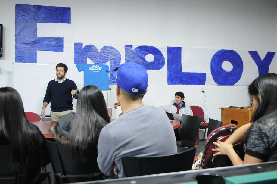 Connecticut Students for a Dream leader Lucas Codognolla leads a seminar kicking off the program's campaign to open up student financial aid at public colleges to undocumented students with a meeting at Neighbors Link in Stamford, Conn., Jan. 10, 2014. Photo: Keelin Daly / Stamford Advocate Freelance