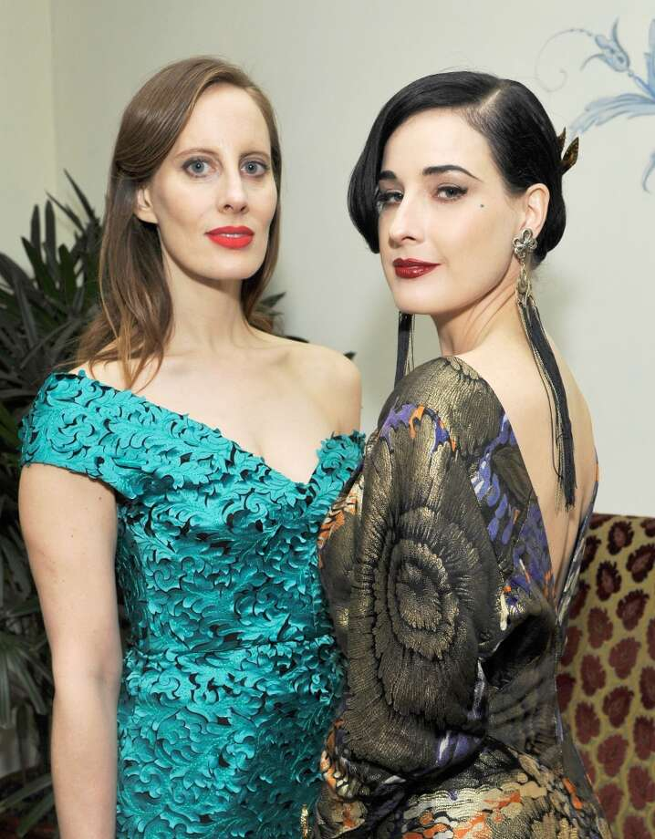 "Filmmaker Liz Goldwyn and Dita Von Teese attend the W Magazine celebration of The ""Best Performances"" Portfolio and The Golden Globes with Cadillac and Dom Perignon at Chateau Marmont on January 9, 2014 in Los Angeles, California. Photo: John Sciulli, Getty Images For W Magazine"
