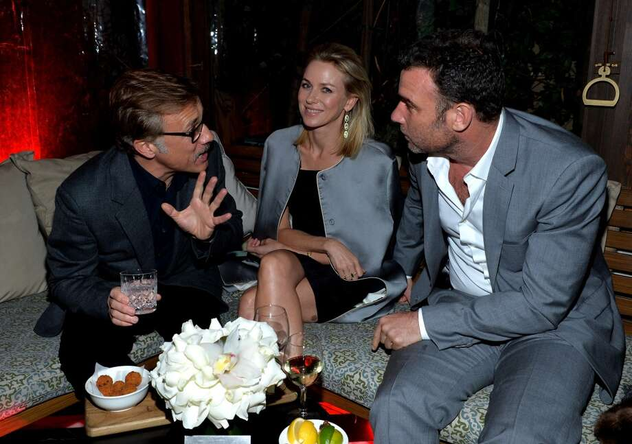 (L-R) Actors Christoph Waltz, Naomi Watts, and Liev Schreiber attend Golden Globes Weekend Audi Celebration at Cecconi's on January 9, 2014 in Beverly Hills, California. Photo: Michael Buckner, Getty Images For Audi