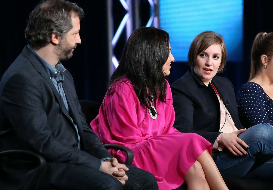 "Executive producer Judd Apatow (left), executive producer Jenni Konner and creator/actor Lena Dunham speak about HBO's ""Girls."" Photo: Frederick M. Brown, Getty Images"