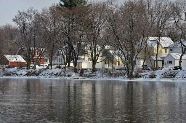 Hemstreet Park homes in the Town of Schaghticoke, along the banks of the the Hudson River as viewed from Mechanicville, Friday Jan. 10, 2014, in Mechanicville, NY.  (John Carl D'Annibale / Times Union) Photo: John Carl D'Annibale / 00025315A