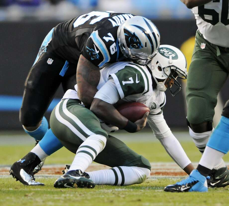 """Carolina defensive end Greg Hardy, who has seven sacks in his past two games, says he is """"a hundred thousand percent"""" better than he was last season. Photo: Mike McCarn, Associated Press"""