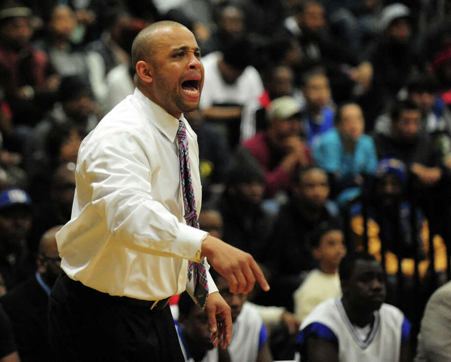 Harding Head Coach Charles Clemons, during boys basketball action against Central in Bridgeport, Conn. on Friday January 10, 2014. Photo: Christian Abraham / Connecticut Post