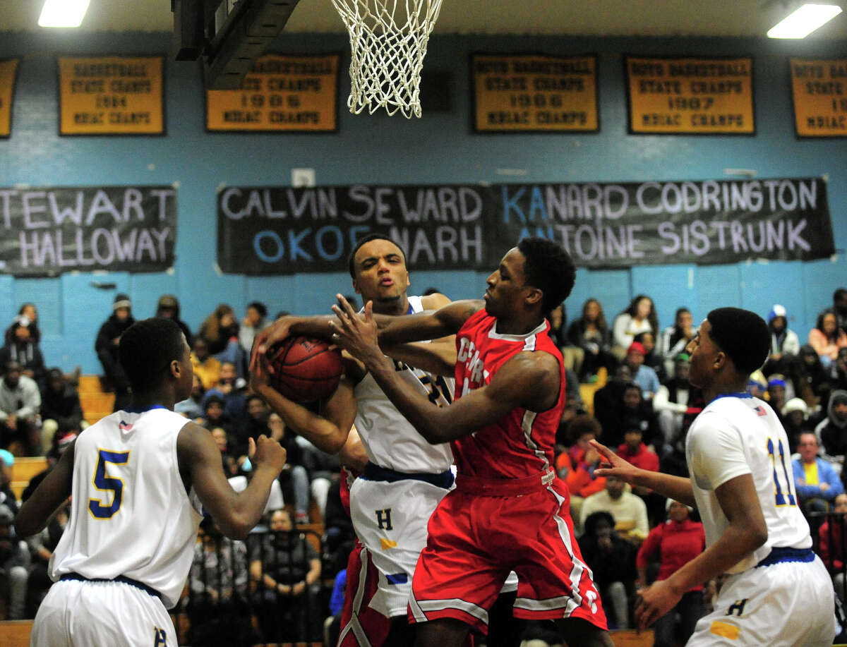 Boys basketball action between Harding and Central in Bridgeport, Conn. on Friday January 10, 2014.