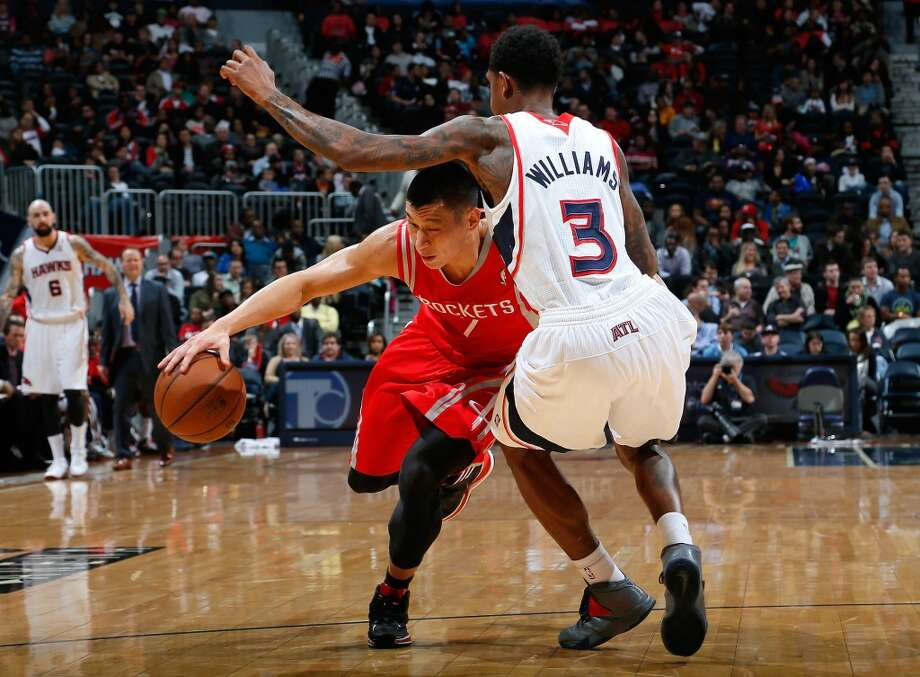 Jan. 10: Hawks 83, Rockets 80  Jeremy Lin drives against Louis Williams. Photo: Kevin C. Cox, Getty Images