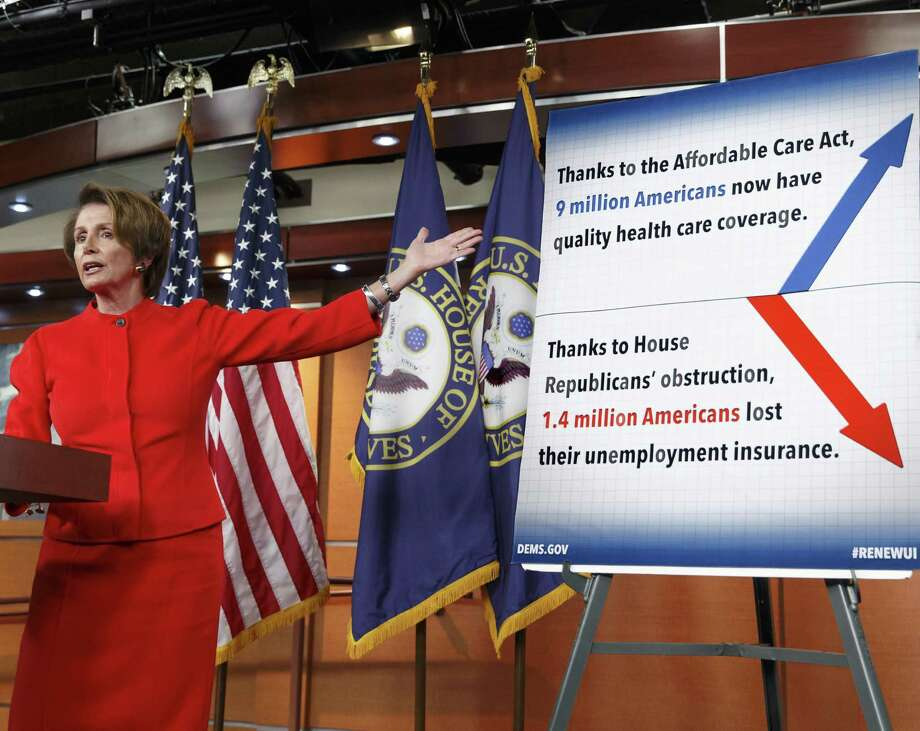 Democrats have argued that the bill overstates problems on the health care website. House Minority Leader Nancy Pelosi, D-Calif., meets with reporters on Capitol Hill. Photo: J. Scott Applewhite / Associated Press / AP