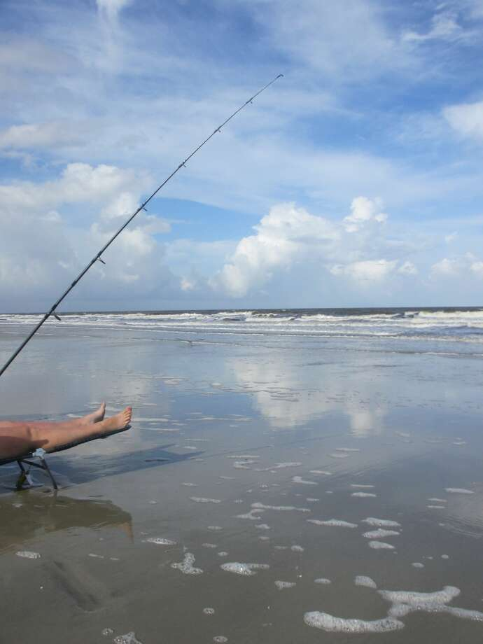 The chaise lounge came in handy for the daughter-in-law who was almost eight months pregnant and determined to keep fishing in the surf. Photo: Terry Scott Bertling, San Antonio Express-News