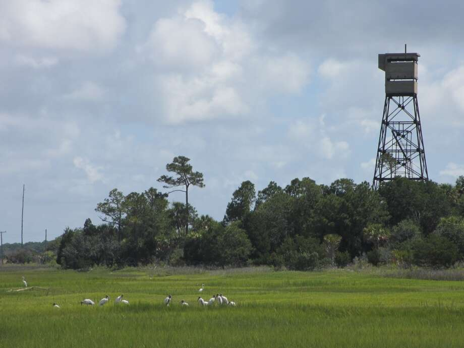 An old WWII submarine tower remains on Dewees Island. Photo: Terry Scott Bertling, San Antonio Express-News