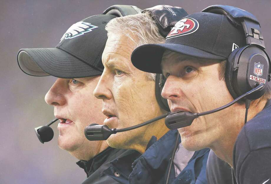 Pictured from left to right: Eagles coach Chip Kelly, Seahawks coach Pete Carroll and 49ers coach Jim Harbaugh.
