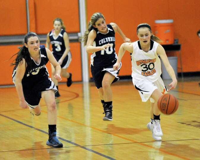 Bethlehem's Emily Wander (30) moves the ball against Columbia during their girls' basketballl game i