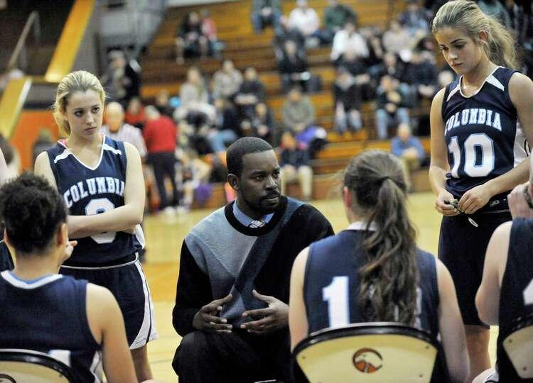 Columbia head coach JAbari Holder coaches his players against Bethlehem during their girls' basketba