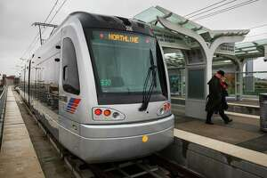 This is an H2 train operating on Houston's METRORail light-rail system.