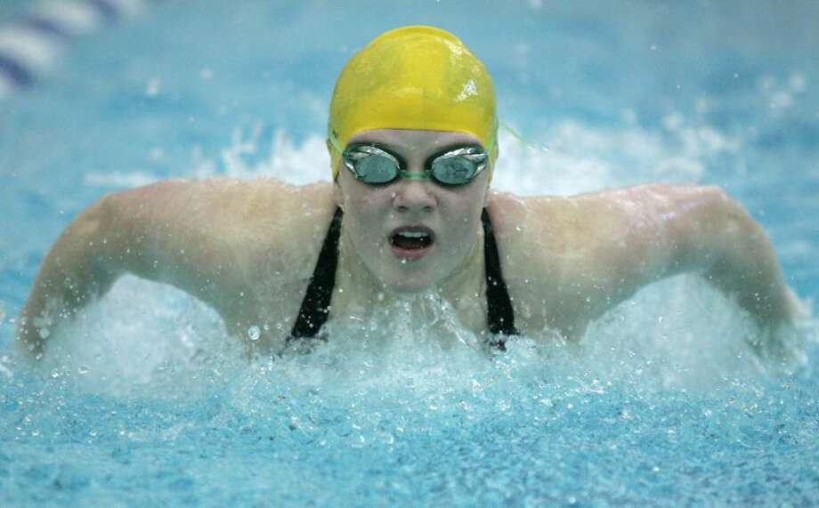 Greenwich Academy's Caroline Johnson was a member of the 200 Medley Relay team that competed against Convent of the Sacred Heart Wednesday afternoon. Photo: David Ames, David Ames/For Greenwich Time / Greenwich Time
