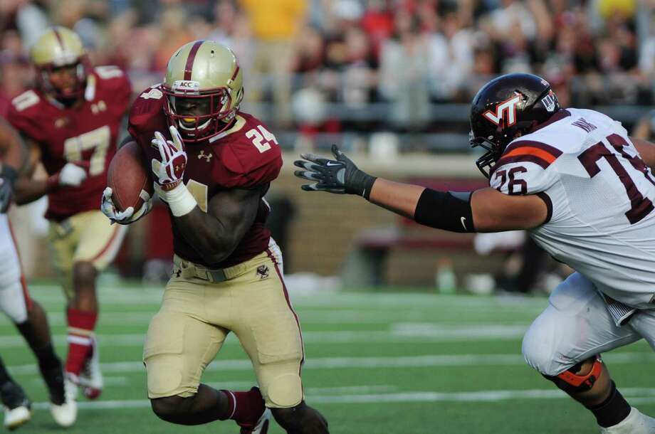 CHESTNUT HILL, MA - NOVEMBER 2: Kevin Pierre-Louis #24 of the Boston College Eagles picks off a pass for a touchdown against the Virginia Tech Hokies in the second half at Alumni Stadium. The Eagles won the game 34 to 27. November 2, 2013 in Chestnut Hill, Massachusetts. Photo: Darren McCollester, Getty Images / 2013 Getty Images