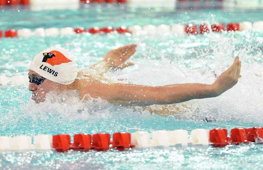 Alex Lewis of Greenwich swims the butterfly leg in the 200 Medley Relay event during the boys high school swim meet between Greenwich High School and Fairfield Prep at Greenwich, Saturday, Jan. 11, 2014. Photo: Bob Luckey / Greenwich Time