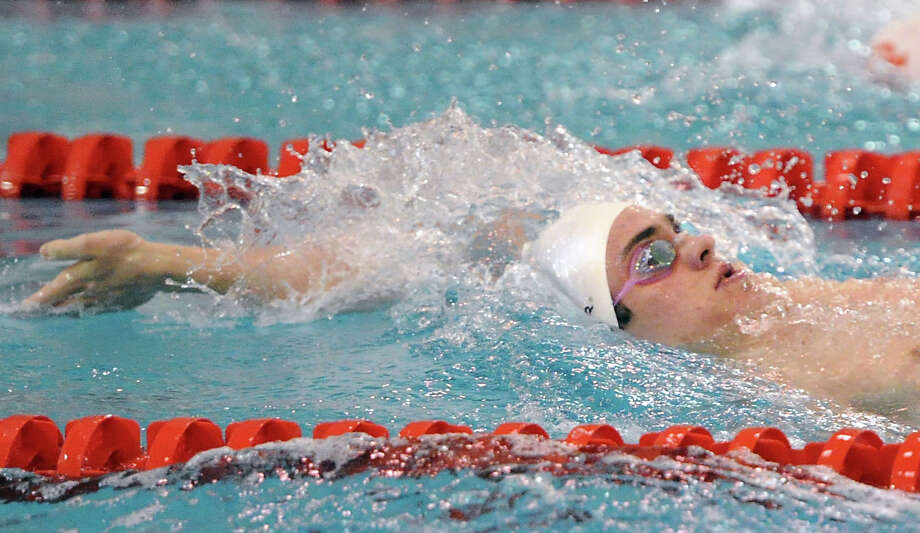 Iain Edmundson of Greenwich swims the backstroke leg in the 200 IM event during the boys high school swim meet between Greenwich High School and Fairfield Prep at Greenwich, Saturday, Jan. 11, 2014. Photo: Bob Luckey / Greenwich Time