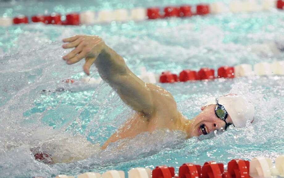 Nicholas Wargo of Fairfield Prep swims the 200 Freestyle event during the boys high school swim meet between Greenwich High School and Fairfield Prep at Greenwich, Saturday, Jan. 11, 2014. Photo: Bob Luckey / Greenwich Time