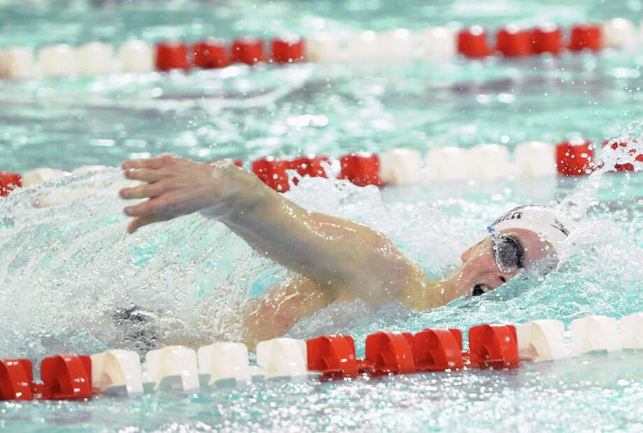 Thomas Dillinger of Greenwich swims the 200 Freestyle event that he won during the boys high school swim meet between Greenwich High School and Fairfield Prep at Greenwich, Saturday, Jan. 11, 2014. Photo: Bob Luckey / Greenwich Time