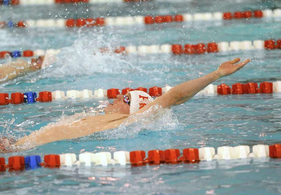 Bryce Keblish of Fairfield Prep swims the backstroke leg of the 200 IM event during the boys high school swim meet between Greenwich High School and Fairfield Prep at Greenwich, Saturday, Jan. 11, 2014. Photo: Bob Luckey / Greenwich Time