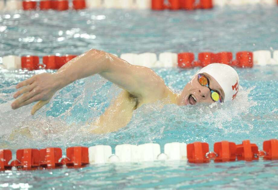 Bryce Keblish of Fairfield Prep swims the freestyle leg of the 200 IM event during the boys high school swim meet between Greenwich High School and Fairfield Prep at Greenwich, Saturday, Jan. 11, 2014. Photo: Bob Luckey / Greenwich Time