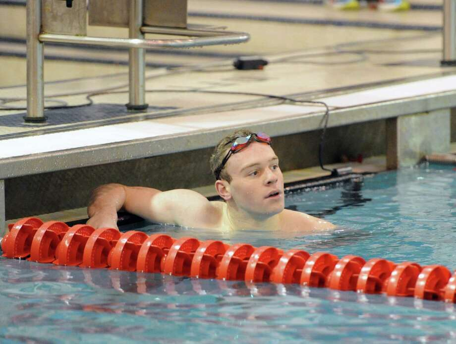 Bryce Keblish of Fairfield Prep after winning the 200 IM event during the high school swim meet between Greenwich High School and Fairfield Prep at Greenwich, Saturday, Jan. 11, 2014. Photo: Bob Luckey / Greenwich Time
