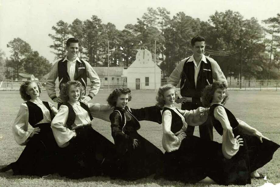 Civic pride soared at football games in small-town Texas. Galena Park cheerleaders gathered, circa 1947-48, in a photo provided by the family of Howard Hanson, at right rear in the image.