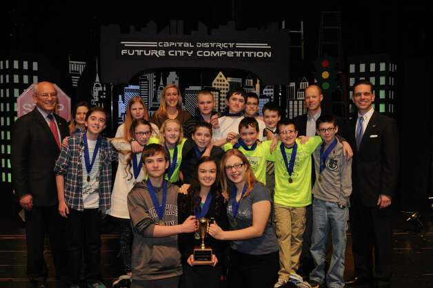 Students from O'Rourke Middle School in Burnt Hills-Ballston Lake took first place in the Future City competition at Proctors in Schenectady. (Submitted photo)