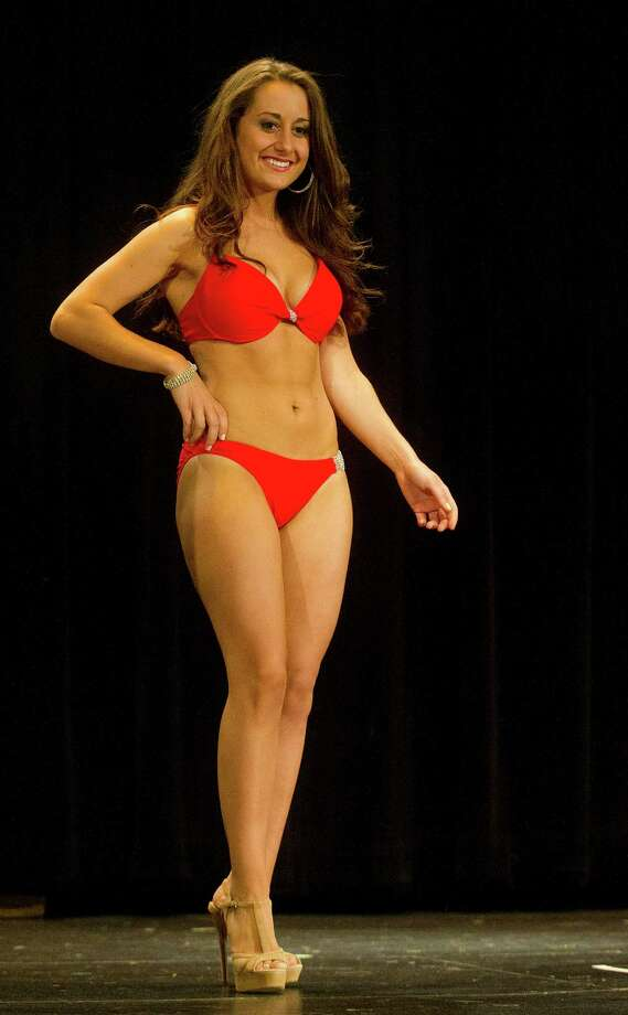 Natascia Simone, 20, competes in the lifestyle and fitness portion during the first Miss Stamford competition at the Rogers International School in Stamford, Conn., on January 11, 2014. Photo: Lindsay Perry / Stamford Advocate