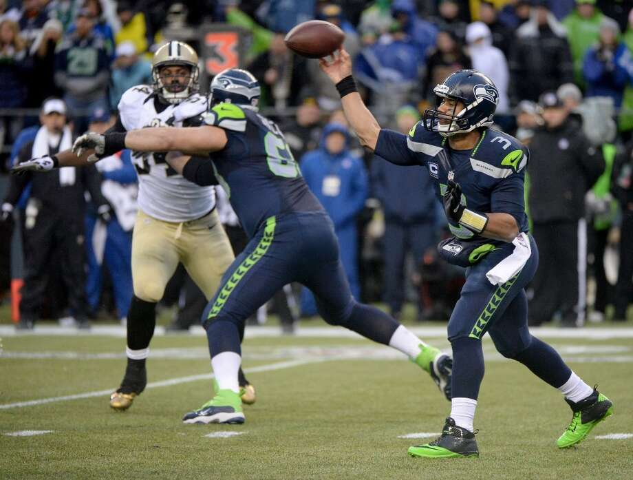Quarterback Russell Wilson #3 of the Seahawks throws the ball. Photo: Harry How, Getty Images
