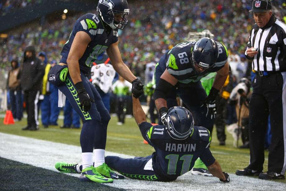 Seattle Seahawks player Percy Harvin is injured after a play in the end zone during the NFC Divisional Playoff game on Saturday, January 11, 2014 at CenturyLink Field in Seattle. Photo: JOSHUA TRUJILLO, SEATTLEPI.COM