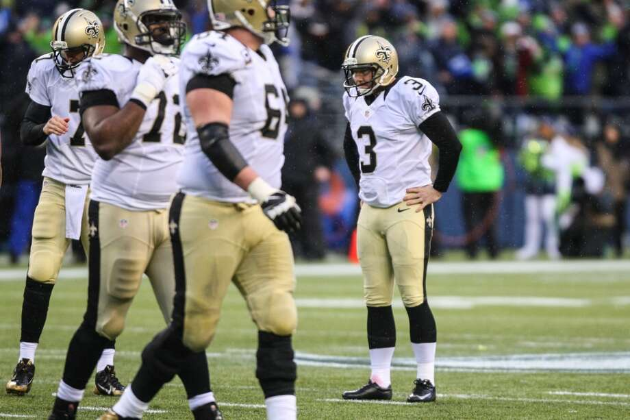 New Orleans Saints kicker Shayne Graham shows his frustration after missing a field goal against the Seahawks during the second half of an NFC Divisional Playoff game on Saturday, January 11, 2014 at CenturyLink Field in Seattle. Photo: JOSHUA TRUJILLO, SEATTLEPI.COM