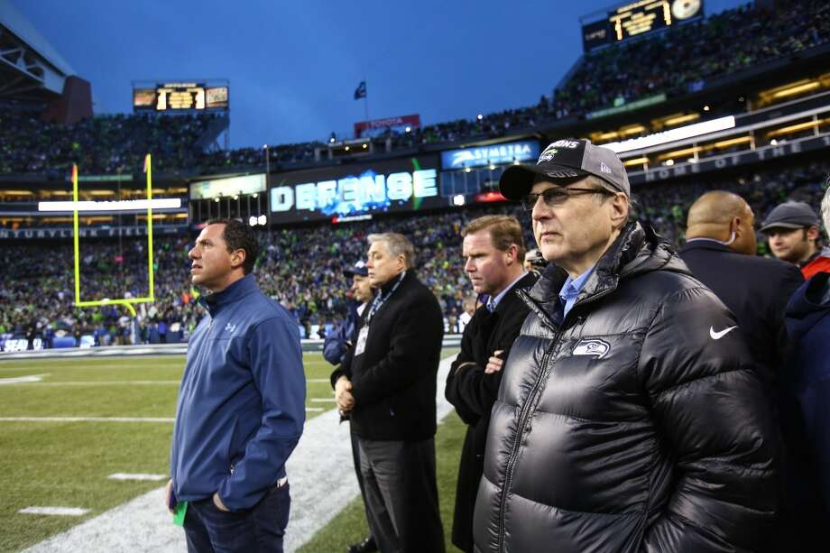 Seattle Seahawks owner Paul Allen watches the final minutes as the Seahawks play the New Orleans Saints in an NFC Divisional Playoff game on Saturday, January 11, 2014 at CenturyLink Field in Seattle. Photo: JOSHUA TRUJILLO, SEATTLEPI.COM