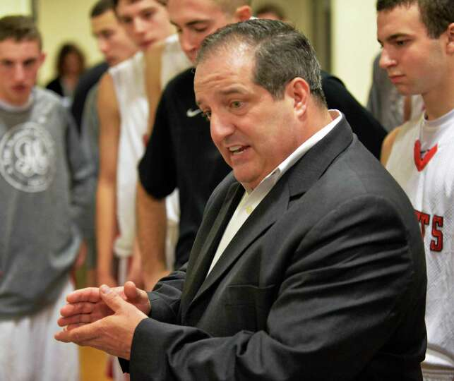 Albany Academy head coach Brian Fruscio during Saturday's game against Long Island Lutheran Jan. 11,