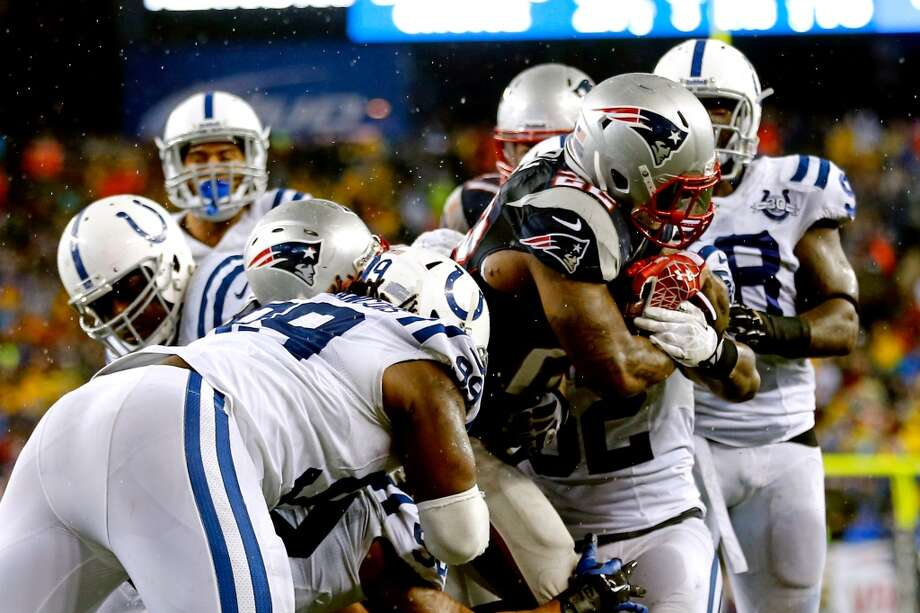 Stevan Ridley #22 of the Patriots scores in the third quarter. Photo: Jim Rogash, Getty Images