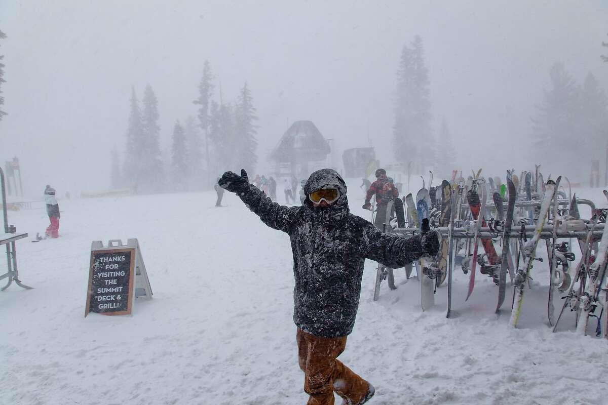 Snowboarders enjoy fresh snowfall at Northstar California, a resort at Lake Tahoe, over the weekend of January 10, 2014.
