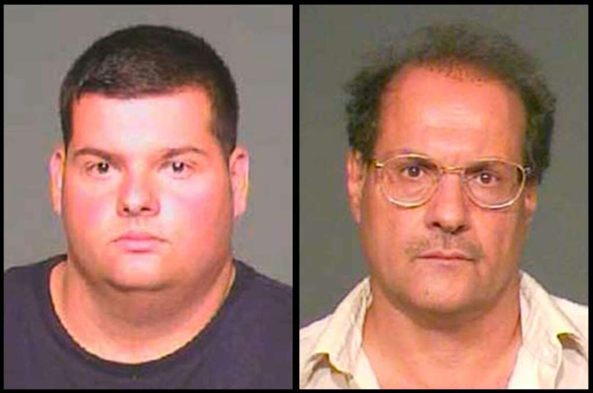 Left to right, Angelo Ciullo, 25, and his father, Pasquale Ciullo, 55, both of Byram, are shown here in Greenwich police department photos. Both men are on trial for an incident which occurred on July 4, 2007 at their Byram Shore Road home involving a property dispute with day laborers who were working for a neighbor of the Ciullo's. Pasquale Ciullo is on trial for first-degree assault, three counts of unlawful restraint and one of weapons in a motor vehicle. Angelo Ciullo is on trial for two counts of unlawful restraint and one count of weapons in a motor vehicle.