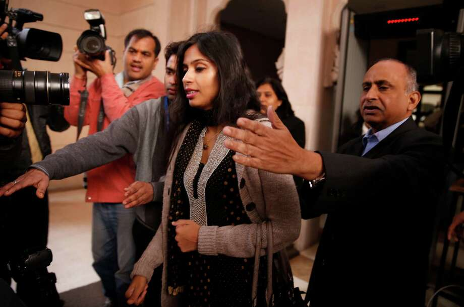 Devyani Khobragade leaves Maharastra Sadan state house in New Delhi, India, Saturday, Jan. 11, 2014. Khobragade, 39, is accused of exploiting her Indian-born housekeeper and nanny, allegedly having her work more than 100 hours a week for low pay and lying about it on a visa form. Khobragade has maintained her innocence, and Indian officials have described her treatment as barbaric. Photo: Saurabh Das, AP  / THE ASSOCIATED PRESS2014