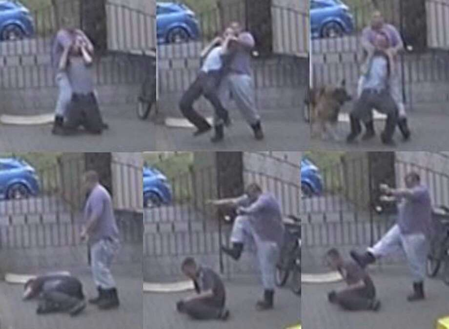 "A combination of six undated video images issued by South Yorkshire Police on Tuesday Jan. 7, 2014  taken from CCTV footage of  the Rooke family  assaulting Craig Kinsella. A British ice cream business owner who kept a vulnerable man like a ""slave"" has been jailed for six-and-a-half years by a judge who said it was ""staggering"" this could happen in modern society. David Rooke forced Mr Kinsella, 34, to live in a garage where he suffered regular beatings and ended up scavenging for food in bins, Sheffield Crown Court in northern England heard. Rooke, 44, Tuesday admitted falsely imprisoning and attacking Mr Kinsella and was jailed along with his wife Donna, 40, and son Jamie, 19. Photo: South Yorkshire Police, AP  / South Yorkshire POLICE"