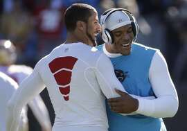 San Francisco 49ers quarterback Colin Kaepernick, left and Carolina Panthers quarterback Cam Newton embrace before the first half of a divisional playoff NFL football game, Sunday, Jan. 12, 2014, in Charlotte, N.C. (AP Photo/John Bazemore)